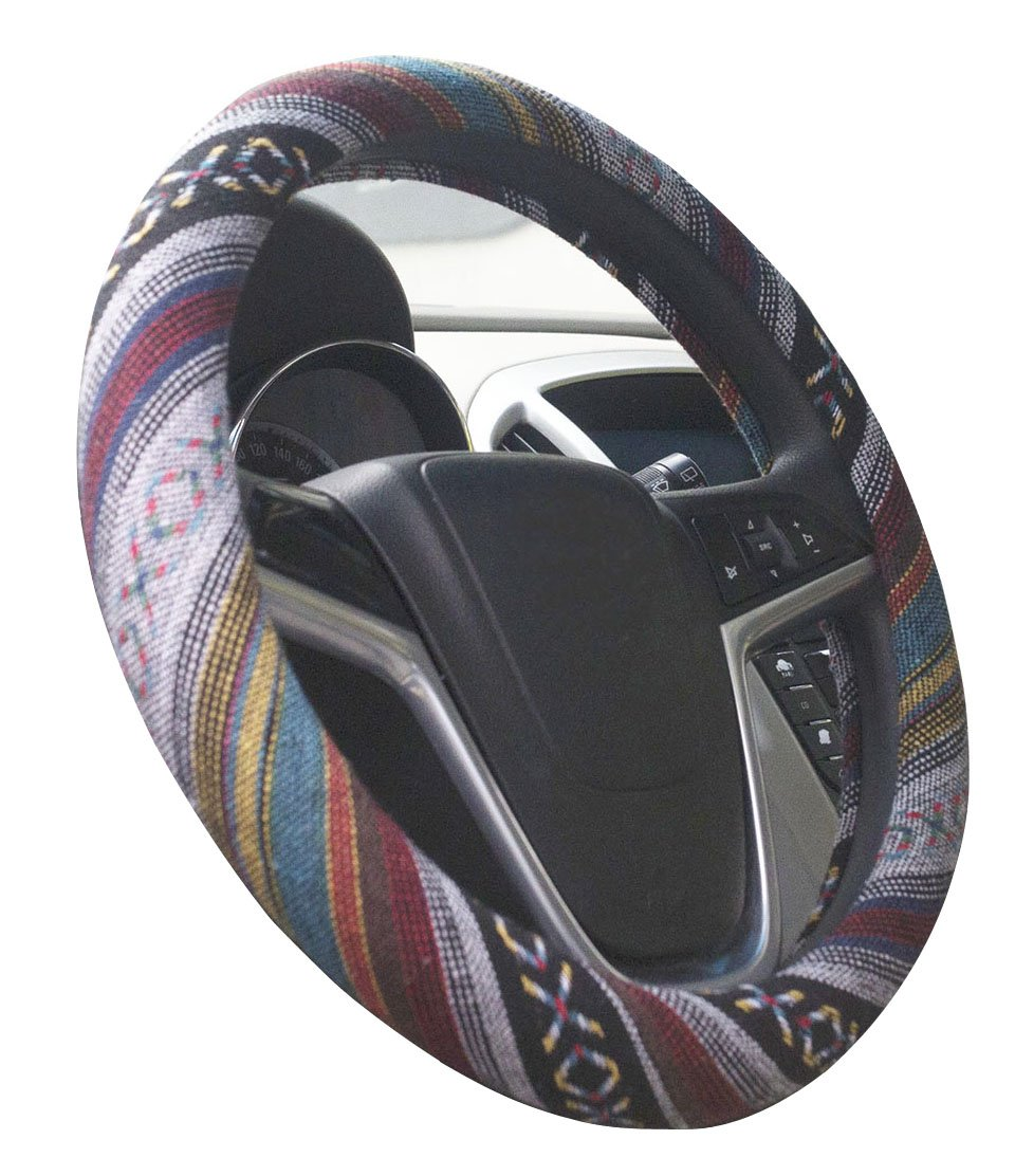 Mayco Bell 2018 Ethnic Style Coarse Flax Cloth Automotive Steering Wheel Cover Anti Slip and Sweat Absorption Auto Car Wrap Cover (G)