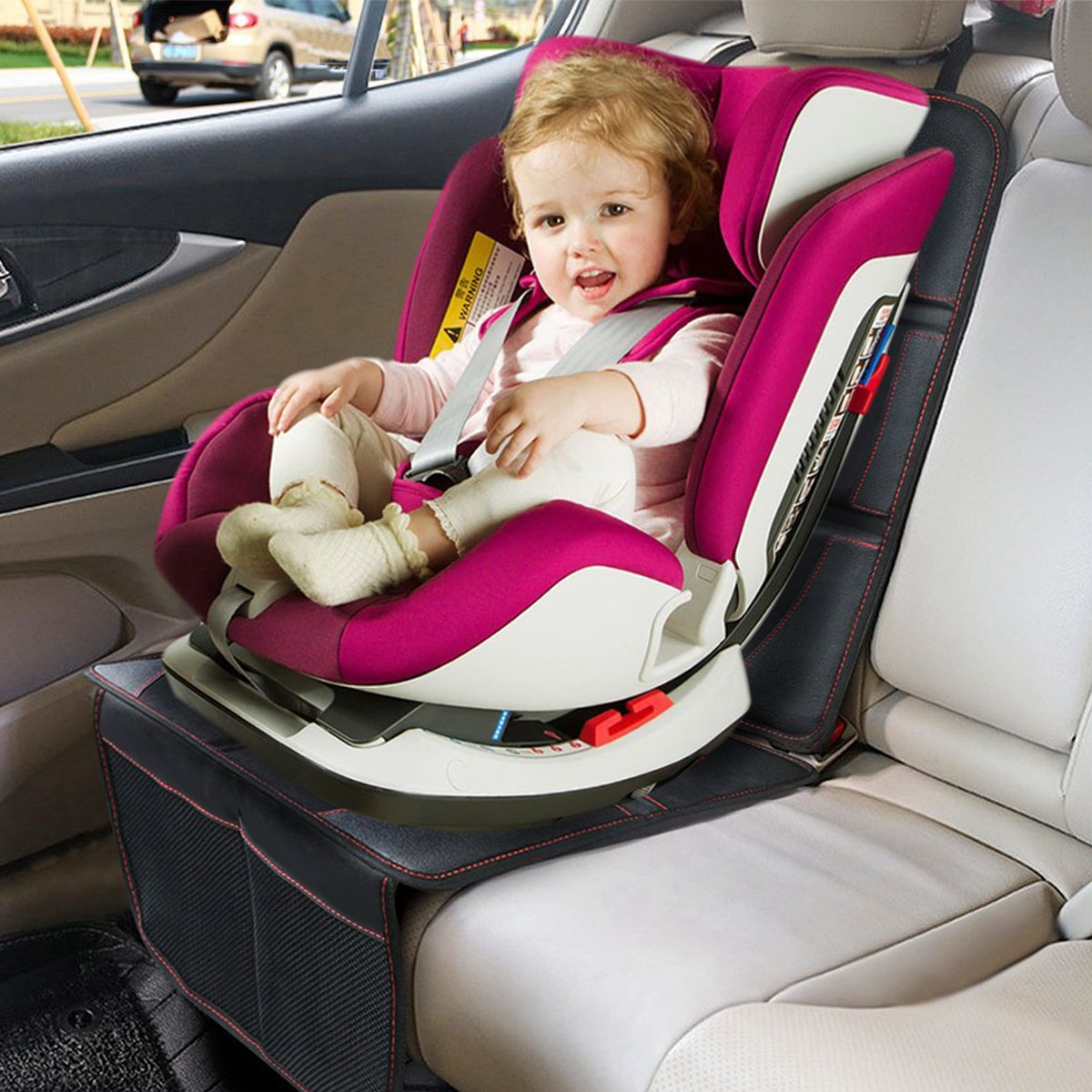 Protector antideslizante para asientos de coche Con bolsillos organizadores GLAMSVILL Tama/ño universal para asientos de coche y de beb/és o ni/ños 2 Pack