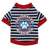 犬服 Hosam ペット 洋服 冬 春 トレーナー 縞柄 上着 犬用 小型犬  猫 保温服 可愛い おしゃれ 脱毛保護 (M, レッド)