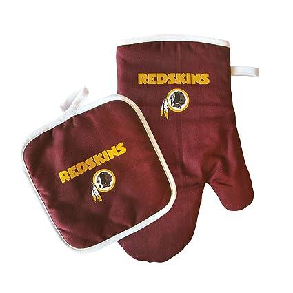 Washington Redskins NFL Team Logo Kitchen Home Outdoor Indoor BBQ Picnic Oven Mitt Glove and Potholder Set