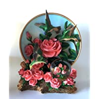 Hummingbird Pink Roses 45mm Diameter Globe And Plate