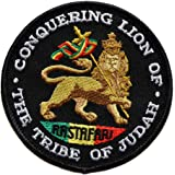 ecusson rasta jamaique lion etoile reggae thermocollant 8cm patche badge