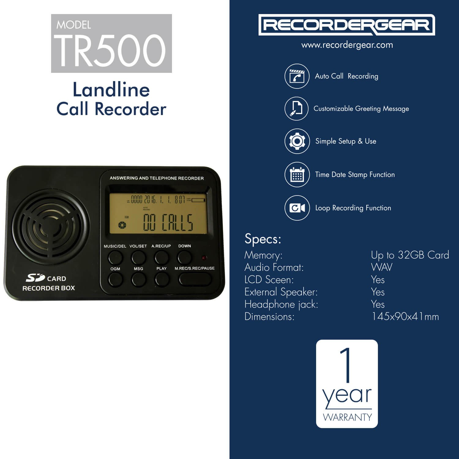 Amazon recordergear tr500 landline phone call recorder amazon recordergear tr500 landline phone call recorder automatic telephone recording on analog lines electronics kristyandbryce Image collections