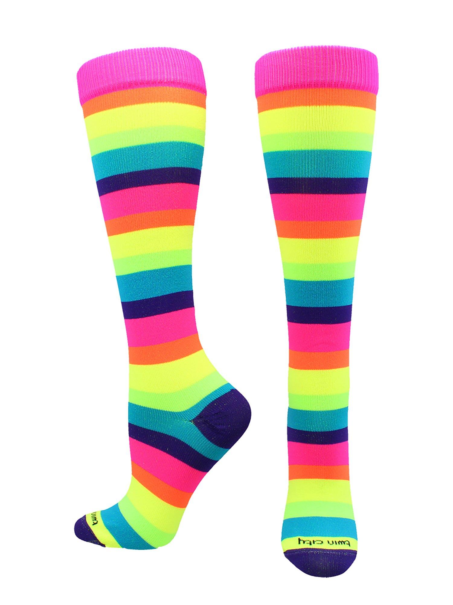 70767317a TCK Sports Krazisox Rainbow Stripes Over the Calf Socks product image
