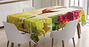 Ambesonne Wine Tablecloth, Habitat Collage with Pouring Wine Bottle and Leaves Farm Harvest Time in Autumn Village, Dining Room Kitchen Rectangular Table Cover, 52