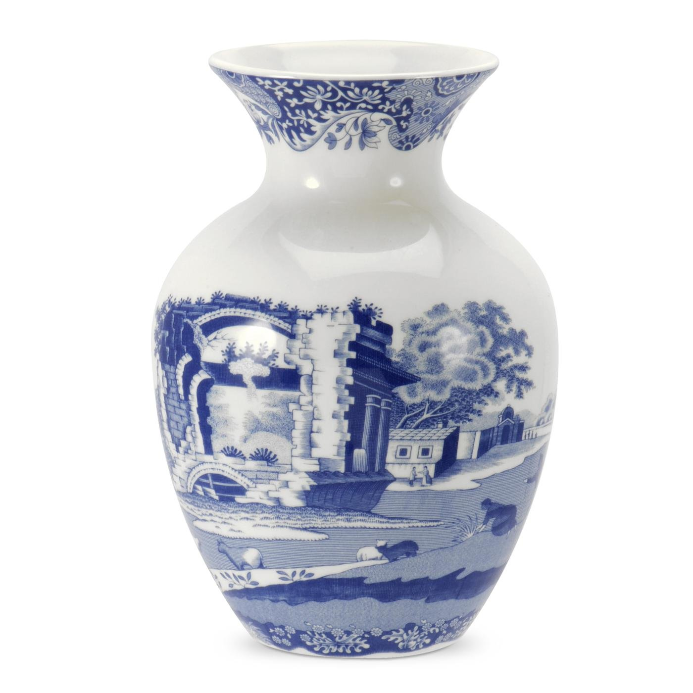 Blue Italian 15 cm Porcelain Vase, Blue/White Spode BLI5241-X