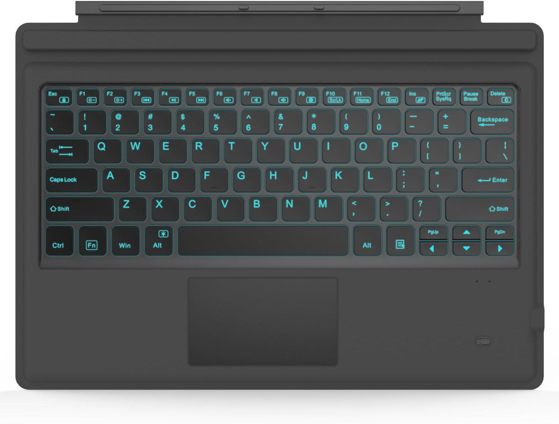 MoKo Surface Pro 7/6/4/3/Pro 2017 Teclado Inalámbrico Bluetooth - Ultra-Slim Wireless Keyboard (QWERTY) para Microsoft Surface Pro 6/4/3 Tableta/Panel Táctil 2 Botones, (NO Apta para Surface 3) Negro