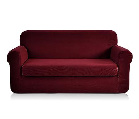 Astounding Chun Yi Jacquard Sofa Covers 2 Piece Polyester Spandex Fabric Stretch Slipcovers Loveseat Wine Short Links Chair Design For Home Short Linksinfo