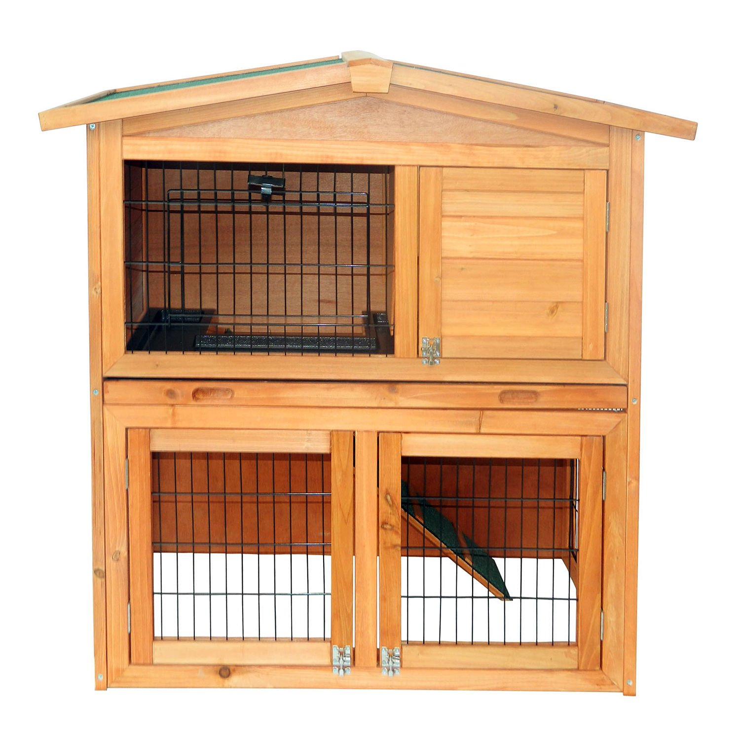 Wooden Rabbit Hutch Small Animal House Pet Cage Chicken Coop A-Frame 40''Pet Holds Cages Home - House Deals by House Deals