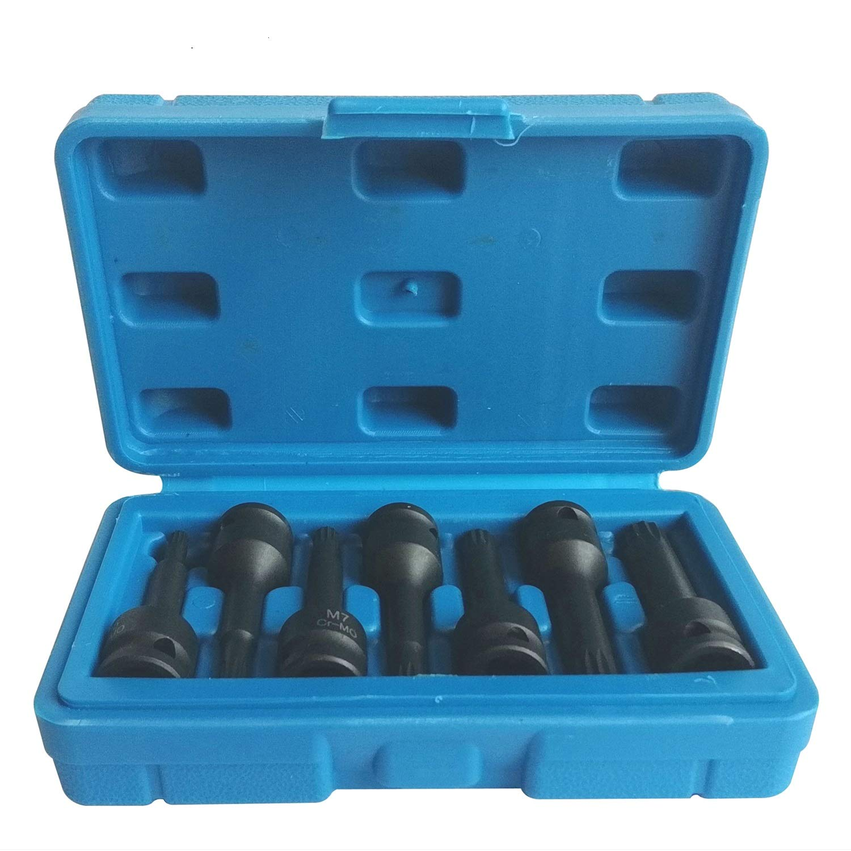 MacWork 7-Piece 3/8-Inch Hex Allen Driver Impact Socket Set, M5-M12, Extended Length Bit Socket Cr-Mo Steel with Storage Case