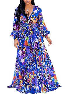 shekiss Womens Sexy Deep V Neck Floral Print Loose Dress Stretch Casual Long Maxi Dresses