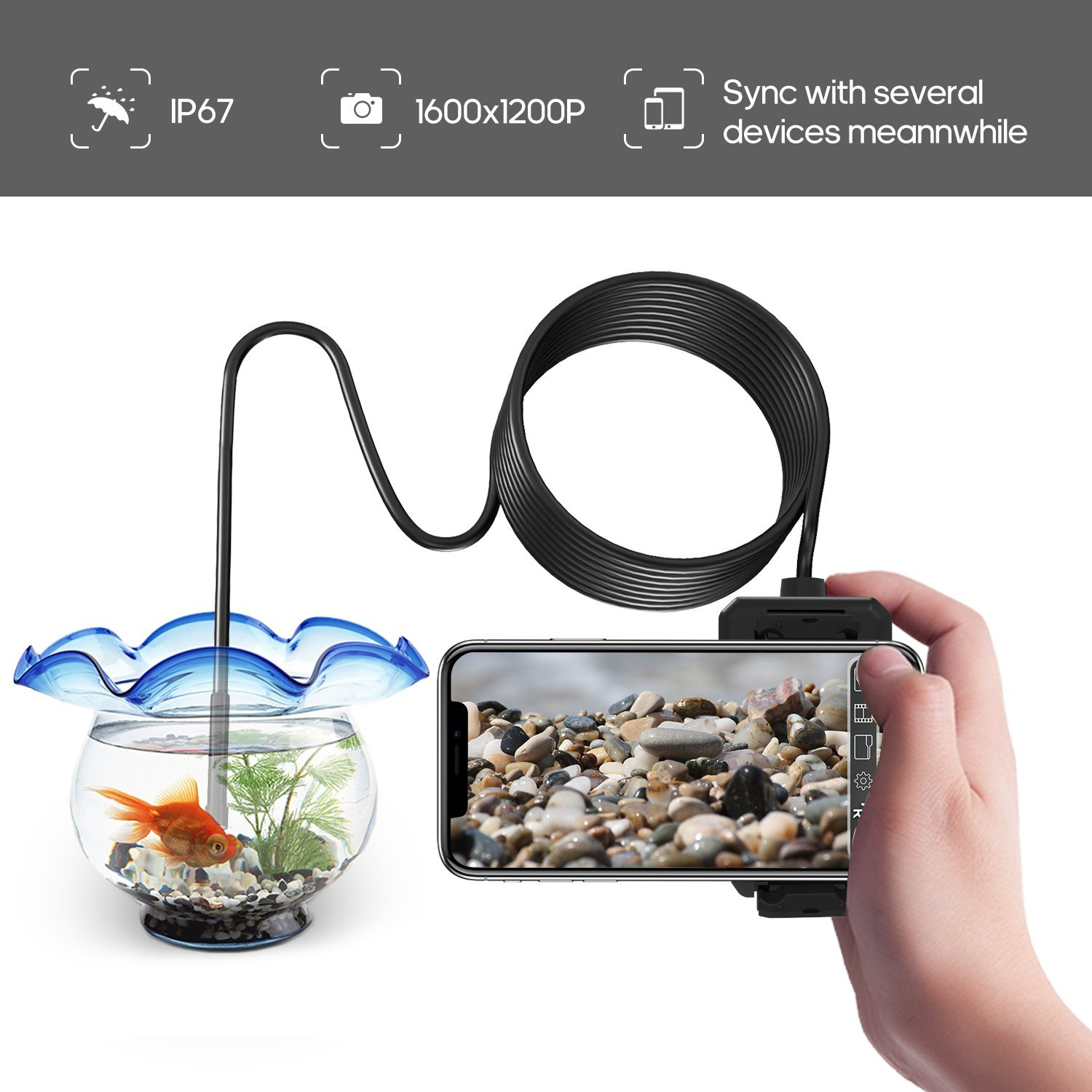 DEPSTECH 1200P Wireless Endoscope, 2.0 MP HD WiFi Borescope Inspection Camera, 16 inch Focal Distance Snake Camera with Phone Holder and Magical Claw for Android & iOS Smartphone Tablet by DEPSTECH (Image #2)