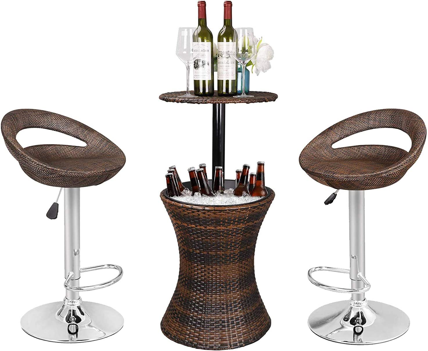 ZENSTYLE Rattan Style Height Adjustable Cool Bar Outdoor Patio Table with Ice Bucket + Swivel Barstool Brown Wicker 360° Swivel Patio Bar Stool for Indoor and Outdoor
