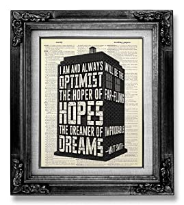 Inspirational Doctor Who Poster, Tardis Motivational Wall Art for Man Office Boy, Funny Dr Who Black and White Wall Decor for Bathroom Bedroom Decoration Artwork, Antique Book Page Print