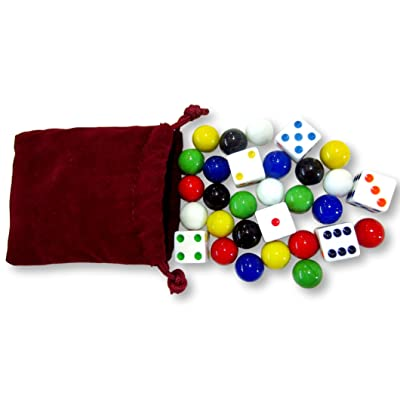 "AmishToyBox.com Game Bag of 24 Replacement Glass Marbles (9/16"" Diameter) and 6 Dice for Aggravation Game: Toys & Games"