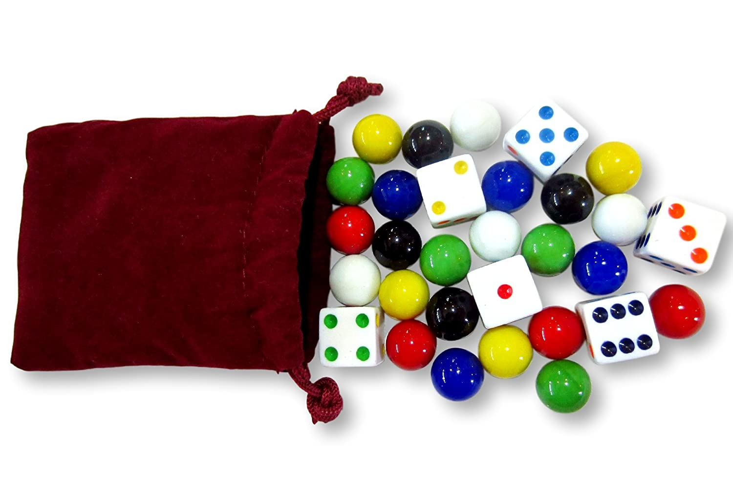 Game Bag of 24 Glass Marbles (14mm) and 6 Dice for Aggravation Game AmishToyBox.com