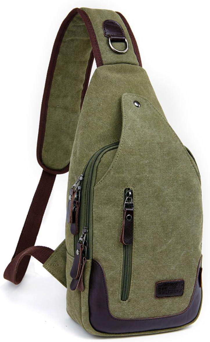 Canvas hombro Sling Mochila Sling Bag Pack Pecho Bolso de hombre mujer Cross Body Bag Mochila Backpack Saco, 39 x 19 x 9 cm: Amazon.es: Deportes y aire libre