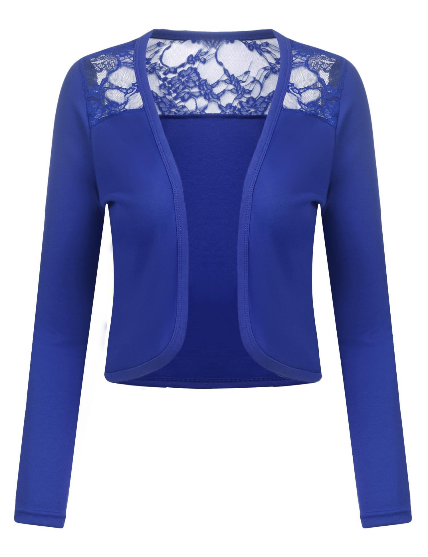 Grabsa Women's Long Sleeve Bolero Shrug Lace Cropped Open Front Cardigan Blazer