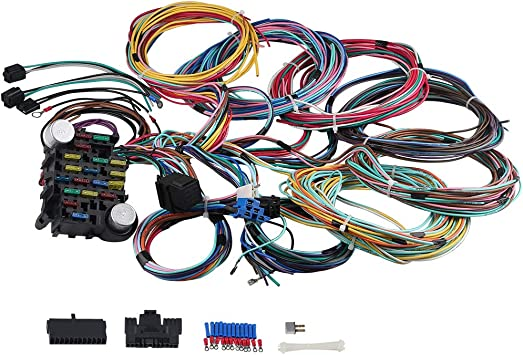 Amazon.com: WMPHE 21 Circuit Wiring Harness Long Wires Standalone Wiring  Harness Kit 18 Fuses Universal Street Rod Complete Wiring Harness:  AutomotiveAmazon.com