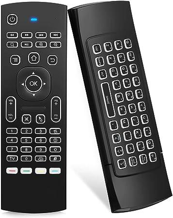 Ilebygo MX3 Pro - Ratón con retroiluminación y Control Remoto para Android TV, Aprendizaje por Infrarrojos, Mini Teclado inalámbrico Multifuncional, ...