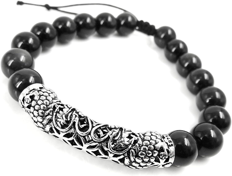 Llamativa Audaz Pulsera de piedras preciosas de obsidiana arco iris negro Encanto de dragón tallado en plata de ley genuina Joyería de fantasía Cordones trenzados hechos a mano fácilmente ajustables