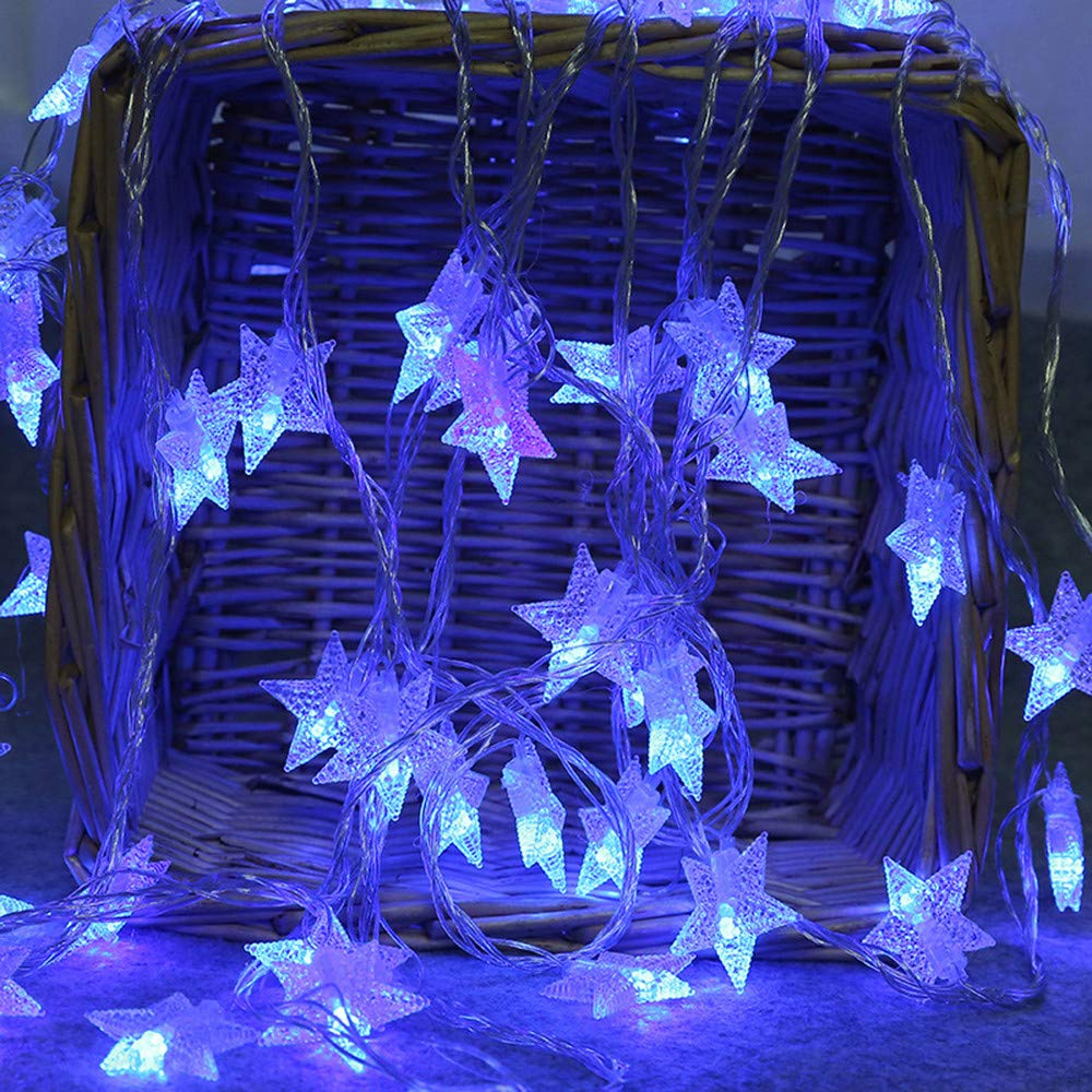 Yaseking 2M 10 LED Wedding Party Star String Lights, Crystal Clear Star Fairy String Light Outdoor Cafe Gazebo Party Decor Lamp (2M, Blue)