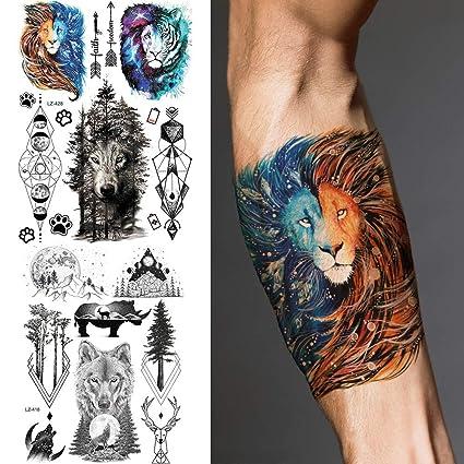 MRKAL Tatuaje Falso Tatuaje Galaxy Lion Tiger Forest Impermeable ...