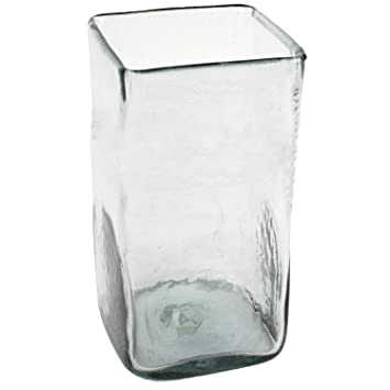 Amazon Large Tall Recycled Glass Square Vase Hurricane Candle
