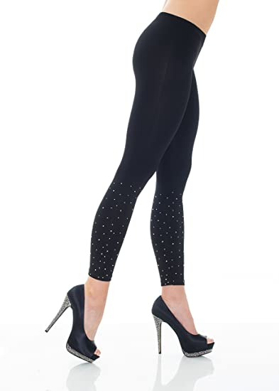 Belldini Women S Fashion Leggings With Scattered Rhinestones At