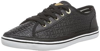 db42e172d34034 Tommy Hilfiger Women s K1285ESHA 12S Low-Top Sneakers Black Size  8 ...