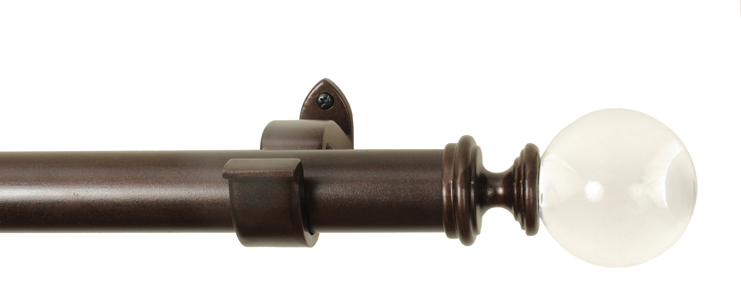 Rulu 52 by 144-Inch Curtain Rod with 1-1/4 Pipe, Acrylic Ball, Oil Rubbed