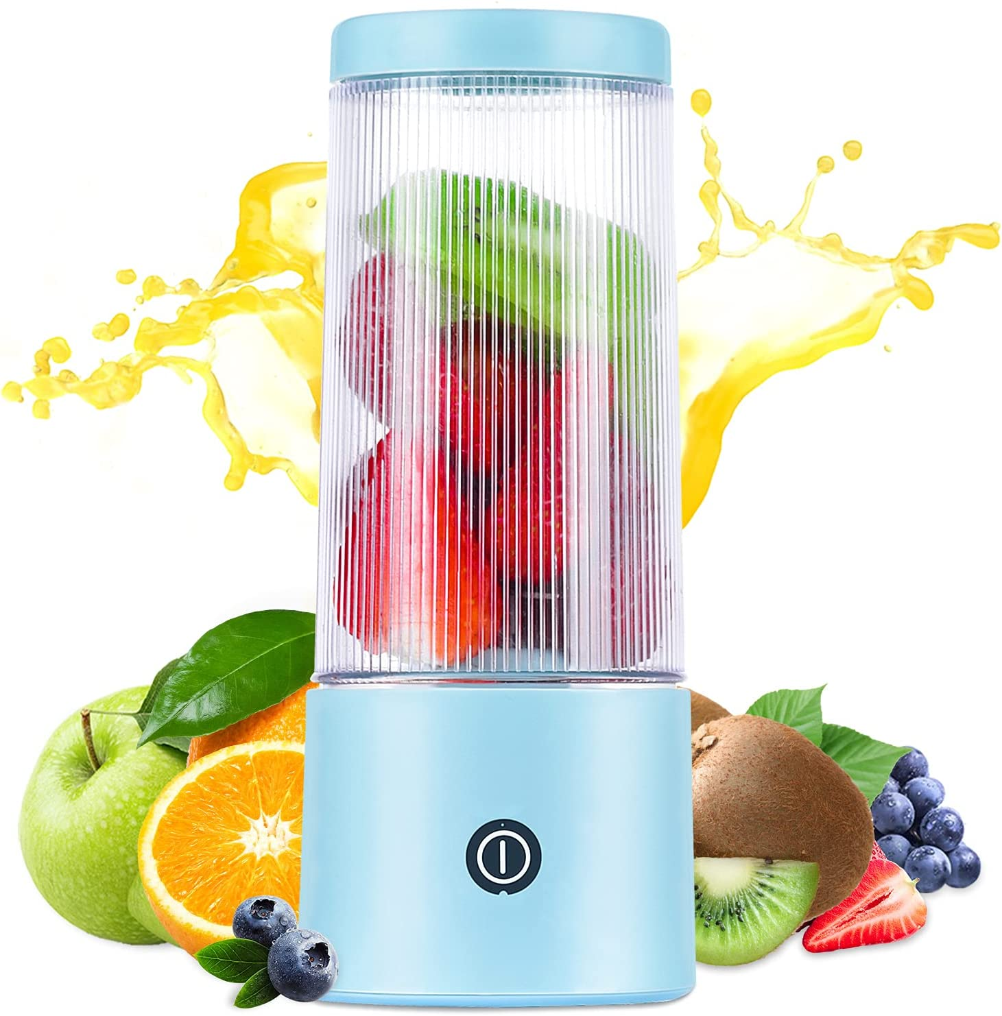 HOPENE Portable Blender, Safety Personal Size Blender for Shakes and Smoothies,Fruit Juicer Cup,12oz Bottle,Mini Blender USB Rechargeable for Travel Sports Office Gym and Outdoors(Blue)