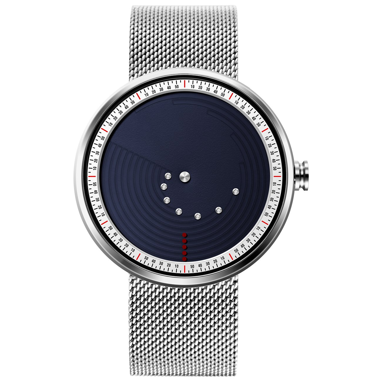 SINOBI Stylish Men's Quartz Watch with Blue Unique Dial Design Minute/Hour Display and Elegant Milanese Mesh Band by SINOBI