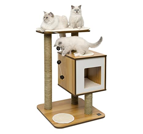 Vesper Mueble Rascador para Gatos, V-Base, Color Blanco