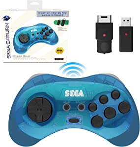 Retro-Bit Official Sega Saturn 2.4 GHz Wireless Controller 8-Button Arcade Pad for Sega Saturn, Sega Genesis Mini, Switch, PS3, PC, Mac - Includes 2 Receivers & Storage Case - Clear Blue