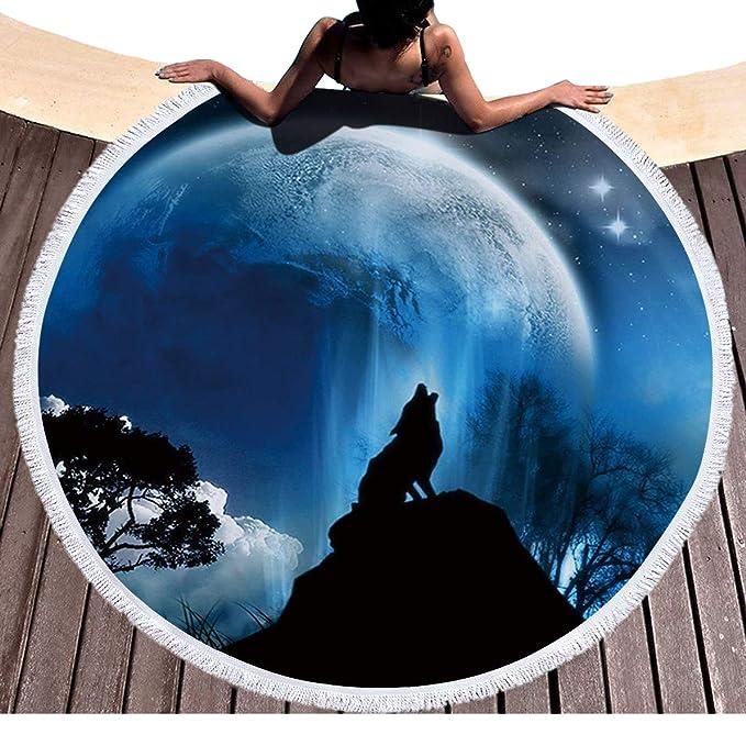 Lobo aullando Luna Llena playa redondas Topo con borlas Wolf Bosque Noche Cielo estrellado redondas Toalla de playa indias ethnisch playa roundie Mandala ...