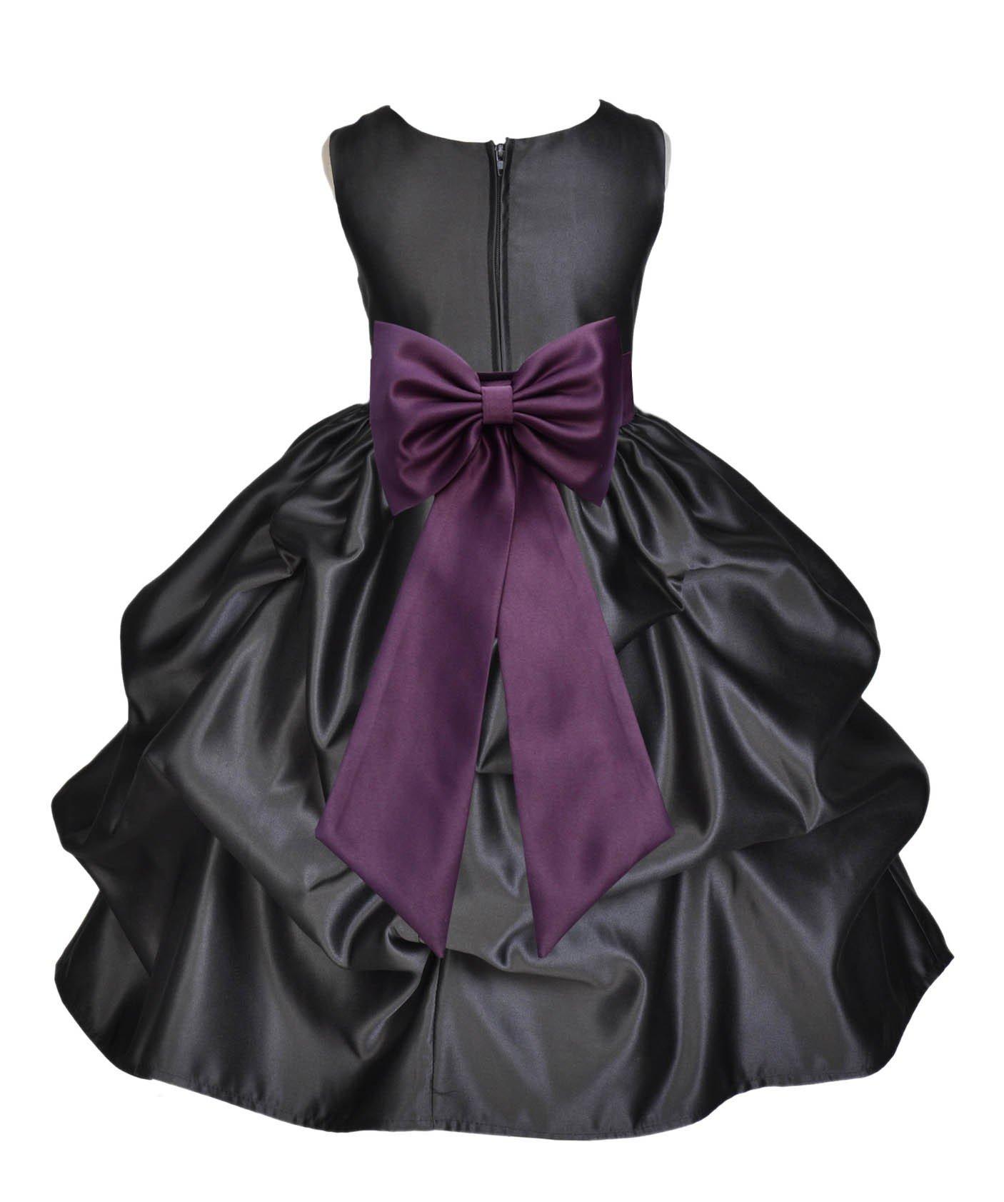 ekidsbridal Black Pick-Up Satin Bubble Flower Girl Dress Ballroom Dance Dresses 208T 2 by ekidsbridal (Image #1)