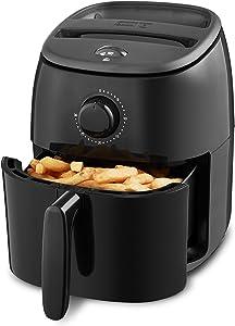 Dash DCAF200GBBK02 Tasti Crisp Electric Air Fryer Oven Cooker with Temperature Control, Non-stick Fry Basket, Recipe Guide + Auto Shut Off Feature, 1000-Watt, 2.6Qt, Black