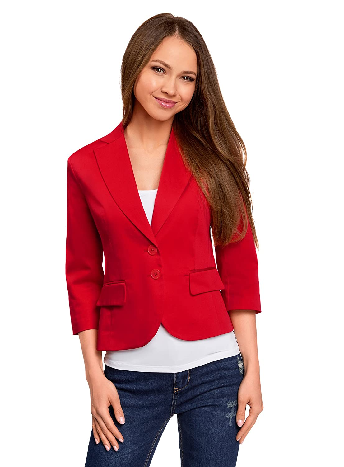 oodji Collection Donna Blazer Basic con Maniche a 3/4 RIFICZECH s.r.o. 21203085-2B