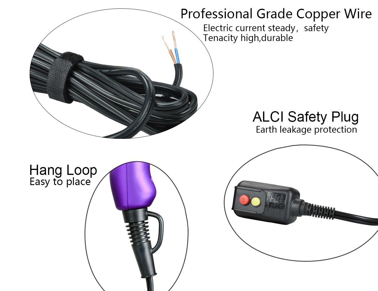 MHU Light Weight Hair Dryer Pro DC Motor Ceramic Negative Ionic Blow Dryer With 2 attachments Purple