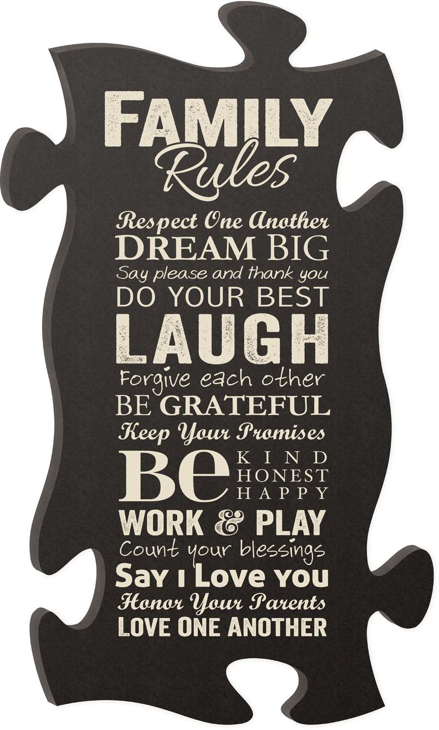 P Graham Dunn This is Our Happy Place Family Rules Puzzle Piece Interlocking Wall Plaque and Frames Set of 3