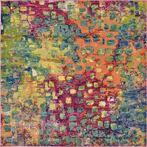- Unique Loom Jardin Collection Colorful Abstract Multi Square Rug (6' 0 x 6' 0)