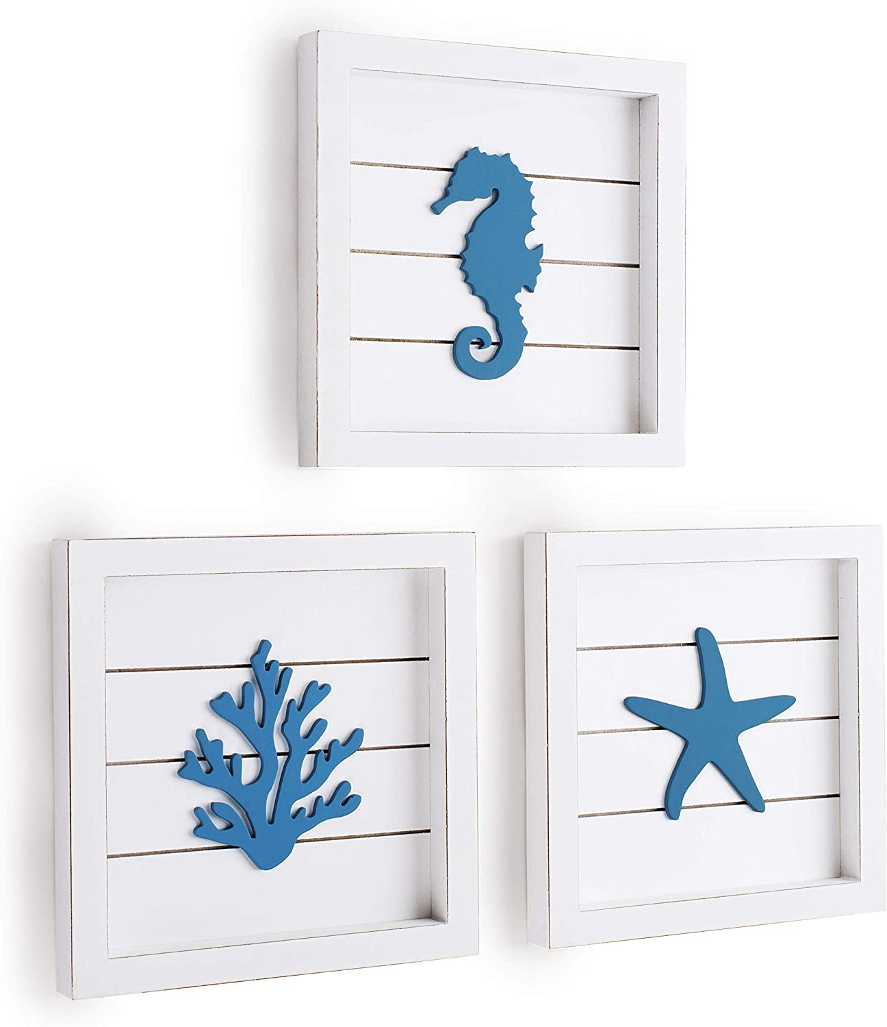 TideAndTales Beach Wall Decor Sea Life Framed Wooden Set with 3D Starfish Seahorse and Coral, Ocean Theme Marine Coastal Decor, Rustic Cottage Beach Bathroom Decor, Beach Decorations for Home