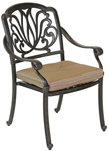 Elizabeth Outdoor Patio Dining Chair Cast Aluminum Dark Bronze Set of 4, Walnut Cushions