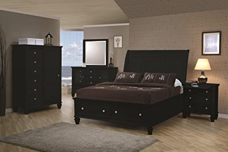 Inland Empire Furniture Wyatt Black Solid Wood Platform Bed W/ Storage  Drawers Eastern King Bed