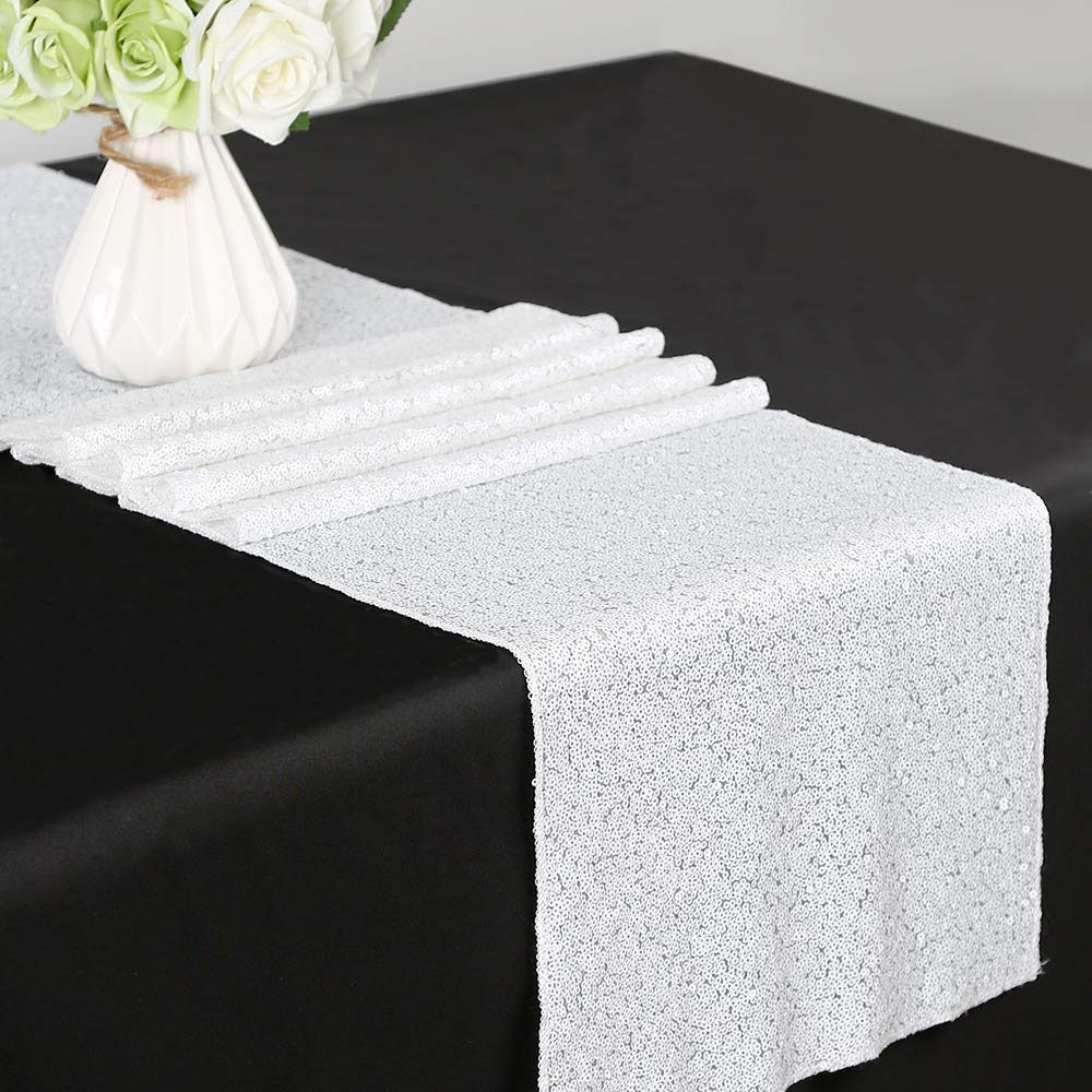 White 12 x72  B-COOL 90 x156  Rectangle pink gold Sequin Tablecloth Tablecloths for Wedding Thanksgiving Tablecloth Sparkle Tablecloth