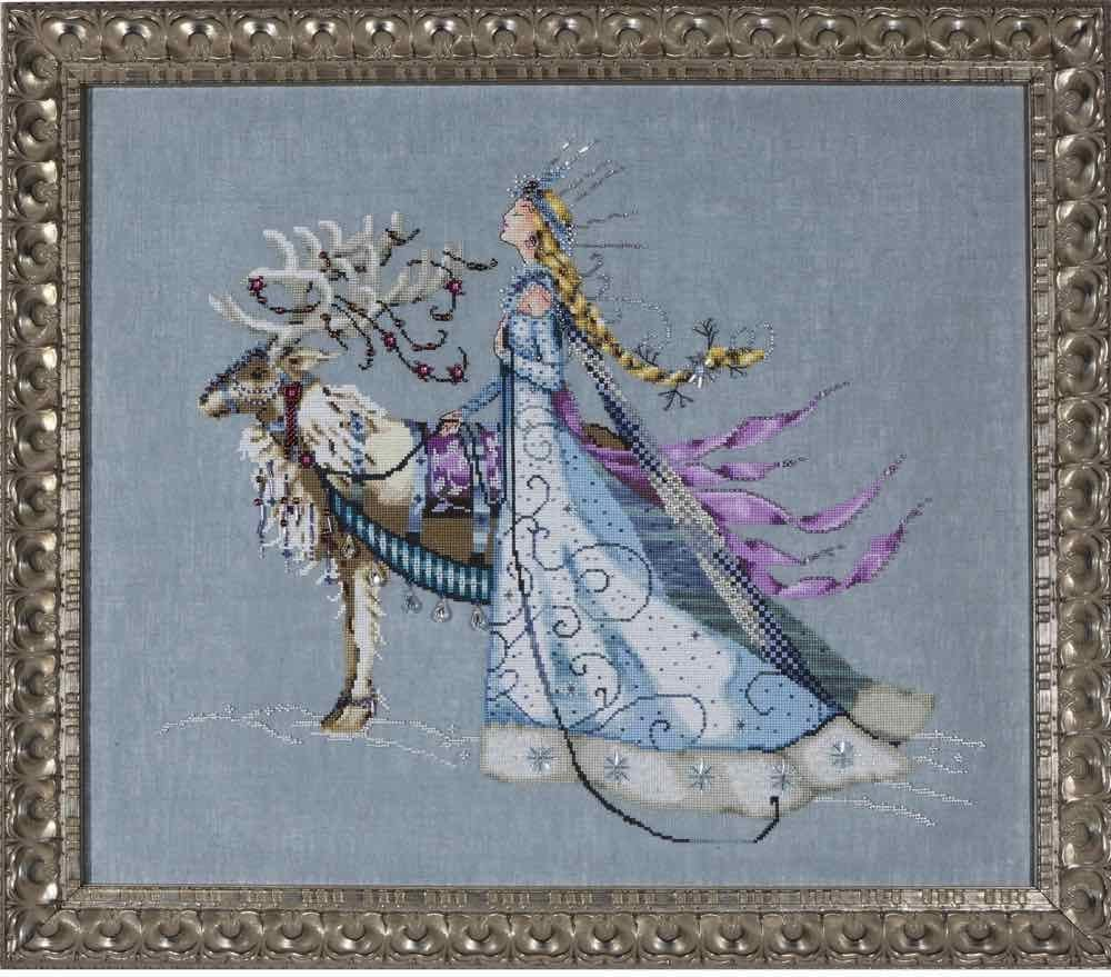 Snow Queen Linen Kit Beaded Counted Cross Stitch by Nora Corbett Mirabilia Designs MD143 Bundle: Chart, Fabric, Beads, Braid, Silk Floss