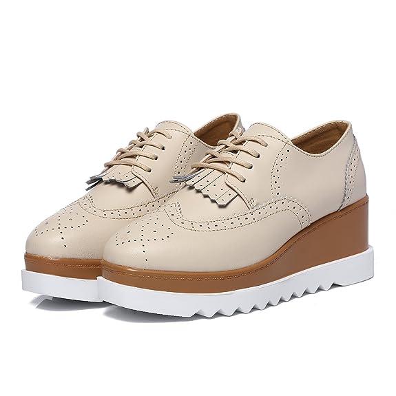 JRenok Chaussures Femme de Ville Brogues Derbies Baskets Lacets Casuel  Mocassins Compensé à Haute Talon 6.5 CM 35-41  Amazon.fr  Chaussures et Sacs ad0ef73eb722