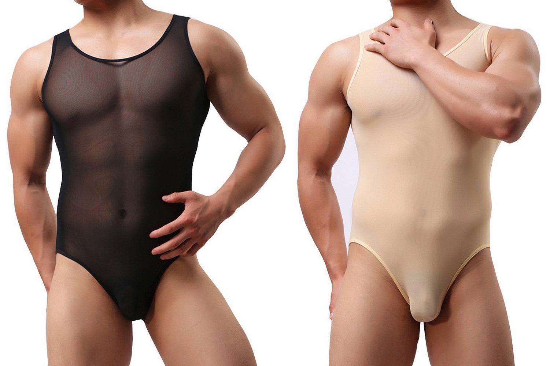 sandbank Men's Sexy Sheer Mesh Wrestling Singlet Bodysuit Leotards Underwear (US S, 2 Pack Mix-Color)