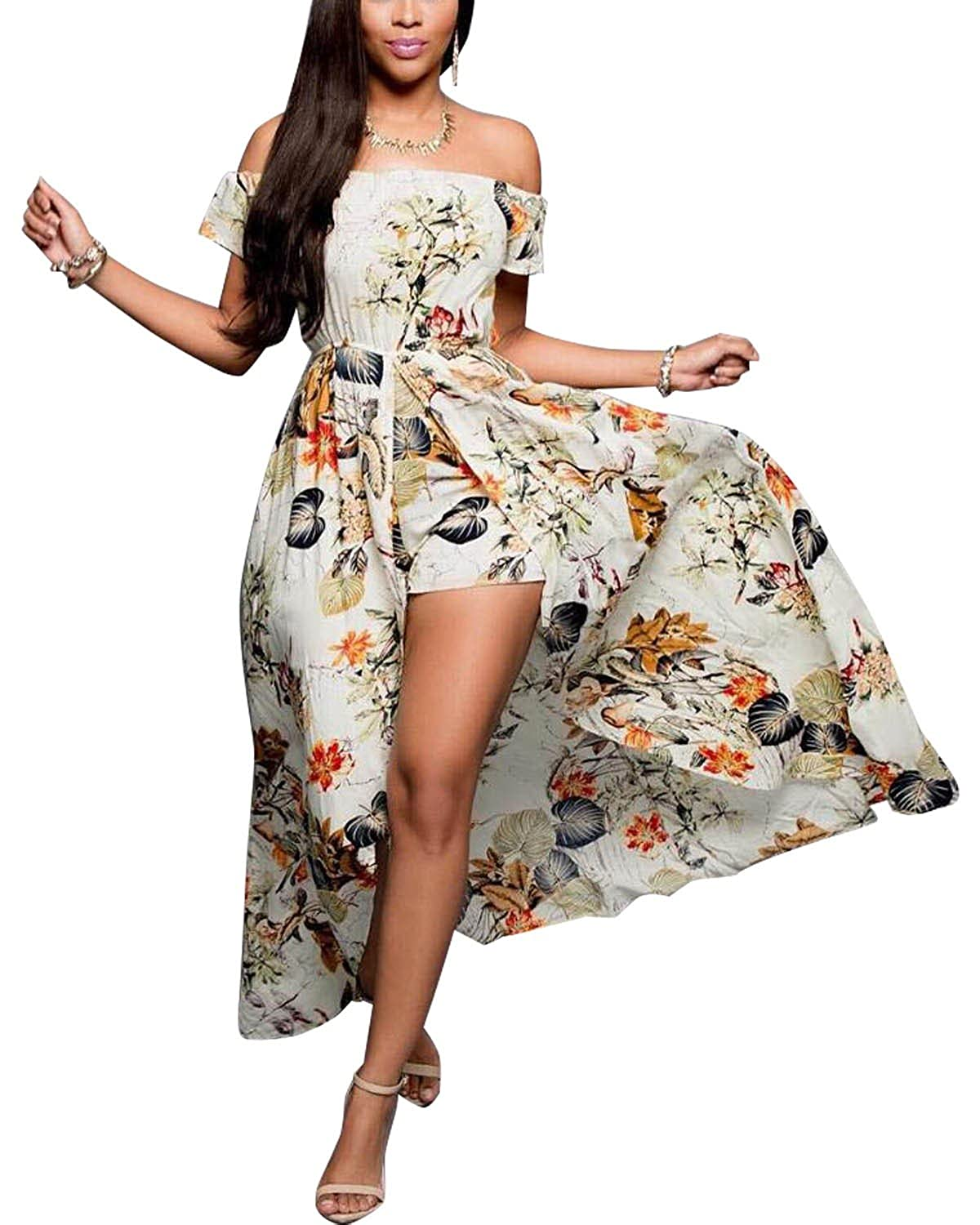 9e6af8d1c03f0 BIUBIU Women's Boho Floral Off Shoulder Romper Maxi Dress Retro ...